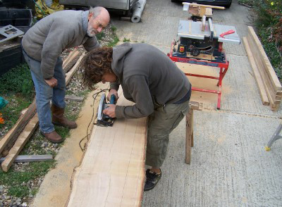 Steve and Chris sawing up oak planks